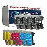 ESMOnline komp. 10 XL Druckerpatronen Ersatz für Brother MFC 430 625 825 6510 6710 6910 Brother DCP 525 725 925 4 x Schwarz 2 x Blau 2 x Rot 2 x Gelb
