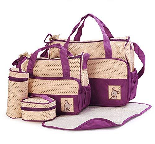 sunshey Multifunktions-Großer Kapazität Baby Windel Wickeltasche Mama Wickelunterlage Handtasche Set von 5 Tote L coffee violett