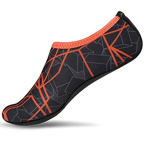 JACKSHIBO Herren Damen Barfuß Wasser Schuhe Unisex Aqua Shoes für Strand Schwimmen Surf Yoga, Erwachsene XXL=265-280MM, Dark Orange