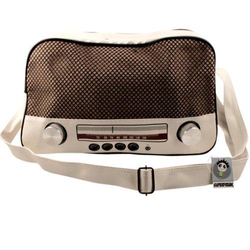 """Super Freak® Borsa """"Radio Borsa a tracolla borsa grande e orizzontale, tutti i colori. Weiß - Drehregler silber"""