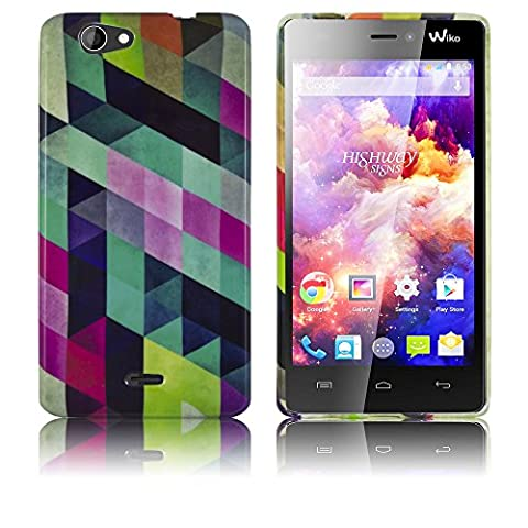 Wiko Highway Signs Etui en silicone COLORFUL CHECKERED case coque housse smartphone bumper Flip bag Cover protection