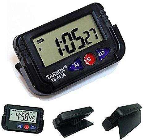 Gooseberry Digital Lcd Alarm Table Desk Car Calendar Clock Timer Stopwatch  available at amazon for Rs.125