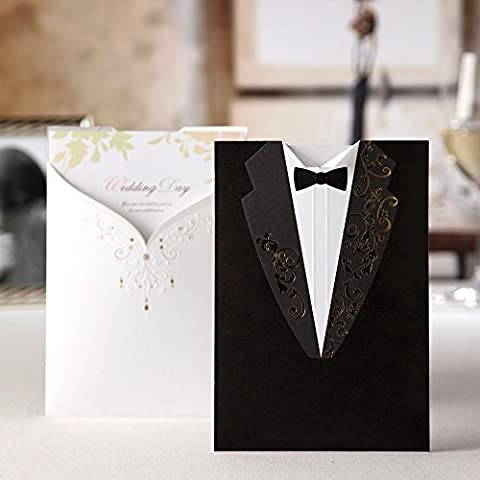 Wishmade Groom Bridal White and Black Laser Cut Wedding Invitations Invites Card Stock For Engagement Party Bridal Shower CW2011 (1)