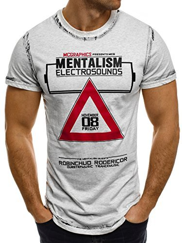 OZONEE Herren T-Shirt mit Motiv Kurzarm Rundhals Figurbetont J.STYLE SS025 Grau