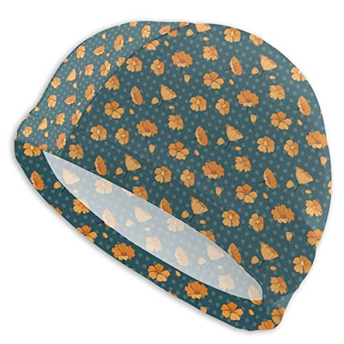 astic Swimming Hat Diving Caps,Floral Pattern with Cute Petals and Buds On Polka Dots,for Men Women Youths ()