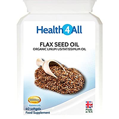 Organic Flax Seed Oil 1000mg 120 Softgels | Omega-3-6-9 by Health4All