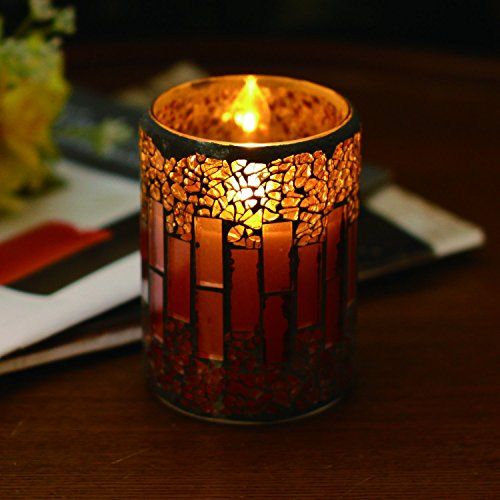 Strip Pattern Crack Mosaic Glass Flameless Pillar Led Wax Candle Light with Timer Home Decorators