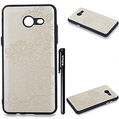 BtDuck Solid Color Case Samsung Galaxy J3 2017 Retro Golden Eye-catching Highlights Suitable For Heavy Metal Music Lovers Handsome Boy Fashion And Wealthy Embossed Flowers PU Phone Accessories Protector Cover Anti-slip Anti-scratch Skin Outdoor Protection Simple Strict Shockproof Slim-fit Lightweight Shell Hybrid Bumper with Soft Silicone Inner shell Hard PC Plastic Back Cover + 1 * Black Stylus Pen Black