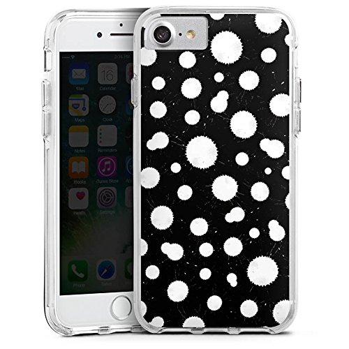 Apple iPhone 6s Bumper Hülle Bumper Case Glitzer Hülle Black White Schwarz Weiss Muster Bumper Case transparent
