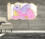 3D Wandtattoo Kinderzimmer Cartoon Drache Dragon Dino rosa Mädchen Zauber Tapete Wand Aufkleber Wanddurchbruch sticker selbstklebend Wandbild Wandsticker Wohnzimmer 11P715, Wandbild Größe F:ca. 97cmx57cm