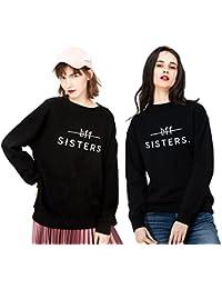 Best Friend Sudadera Impresión 2 Piezas Mejor Amiga Suéter Sisters BFF Manga Larga Sweatshirt Cuello Redondo