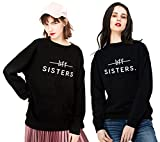 Beste Freunde Friends Pullover für Zwei Damen Mädchen Sweatshirt Sister Hoodie Partner Look Rundhals Kapuzenpullis BFF Geschenk 2 stücke(Schwarz,Sisters-S+M)
