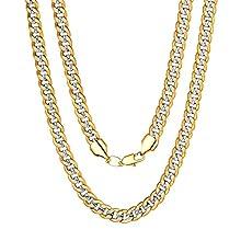 ChainsPro Kupfer Zweifarbige Kette 6/6.5/10mm Herren Halskette,Hip Pop Halsketten Gold Kupfer Ketten,Kettenlänge 46-76cm Gold Kupfer Herrn Ketten für Damen/Herren