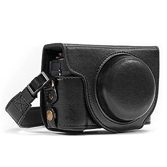 MegaGear Canon PowerShot G7 X Mark II Ever Ready Custodia in ecopelle per Fotocamera con Tracolla - Nero - MG975