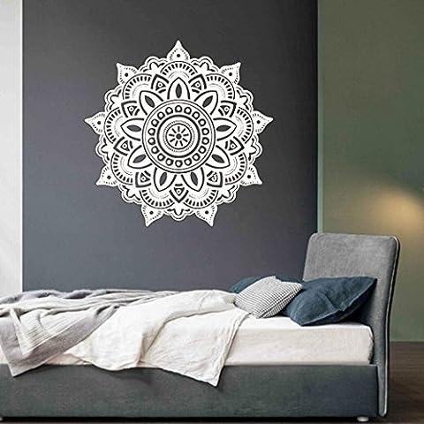 Fuibo Wandabziehbild Kunst Mandala Blume Indische Schlafzimmer Aufkleber Mural Home Vinyl Familie (Weiß)