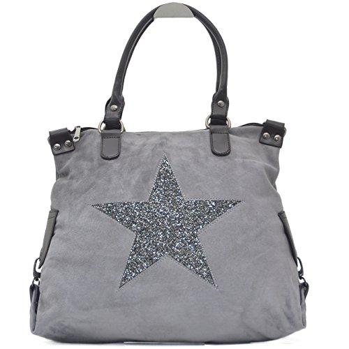 Vain Secrets Sternen Shopper Damen Handtasche mit Schulterriemen (Grau Samt) -