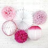 SUNBEAUTY 6er Set Rosa Dekoration Serie Papier Blumen PomPoms Fächer Lampion Wabenball Feier Geburtstag Babyparty Deko von