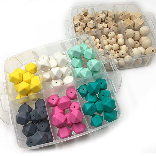 Preisvergleich Produktbild Coskiss DIY Krankenpflege-Schmuck 2 Boxed Combination Package Blending Natürliche runde Geometrie Hexagon Holzperlen Gemischte Farbe Geometrie Sechskant Silikon Perlen Baby Teether Spielzeug Set (A111+A114)