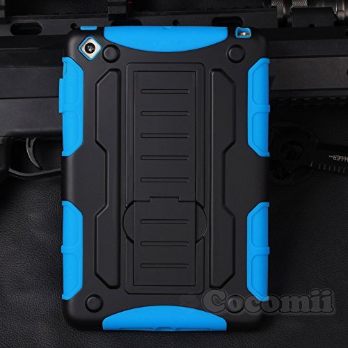 iPad Mini 3 / 2 / 1 Coque, Cocomii Robot Armor NEW [Heavy Duty] Premium Tactical Grip Kickstand Shockproof Hard Bumper Shell [Military Defender] Full Body Dual Layer Rugged Cover Case Étui Housse Apple (Blue)