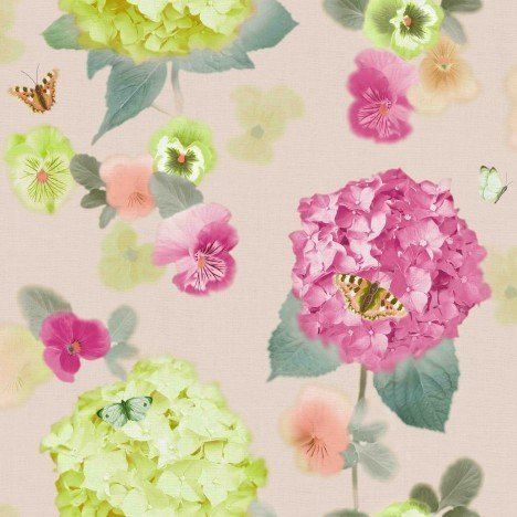 Arthouse Annabelle Flower Pattern Butterfly Floral Motif Wallpaper (Citrus 661901) by Arthouse (Annabelle Blumen)