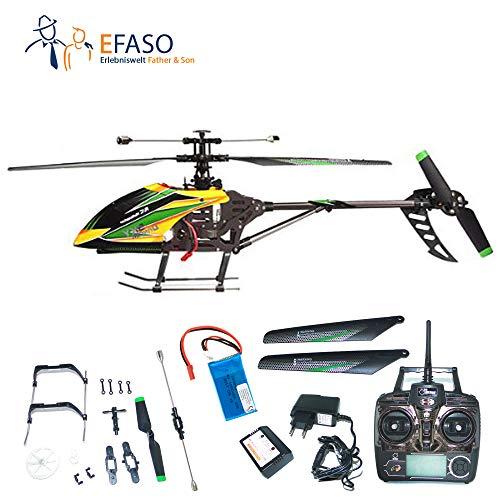 efaso WLToys V912 4-Kanal 2,4 GHz Single Blade Gyro Helikopter mit Kameravorbereitung gelb/grün inkl. 9-teiligem Crash-Kit (Hubschrauber 912)