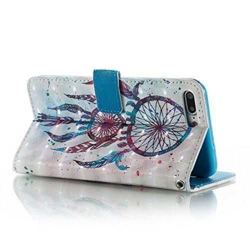 iPhone 8 Plus Hülle, STENES 3D Stilvoll Serie Kartenfach Standfunktion Magnet Ledertasche Wallet TPU Stoßfänger Schutzhülle für iPhone 7 Plus / iPhone 8 Plus - Traumfänger / Blau Traumfänger / Blau