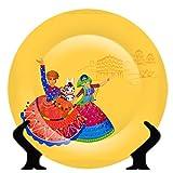 Jikraa Rare Handcrafted Folk Dance Design Ceramic Decorative Plate/Platter with Stand