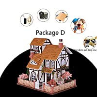 Craft Kits Dolls House, Three-storey Villa Flower House Retro Haystack Roof Cabin Handmade with Furniture and Accessories Spherical Swing DIY Doll House
