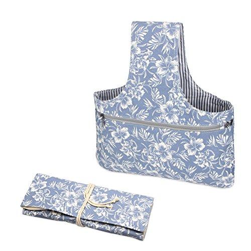 Teamoy 2 Stück/Set tragbar Aufbewahrungstasche für wolle und Strumpfstricknadeln Tasche für häkeln, perfekte Größe für stricken unterwegs, (Kein Zubehör im Lieferumfang enthalten), Blumen -