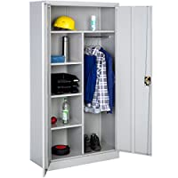 TecTake Office Storage Cupboard Metal Grey with 4 Shelves and Rail | 2-Doors + Lock System | 180x90x40cm