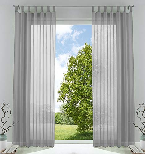 2er-Pack Gardinen Transparent Vorhang Set Wohnzimmer Voile Schlaufenschal mit Bleibandabschluß HxB 245x140 cmGrau, 61000CN - Wohnzimmer-sets Für Vorhänge