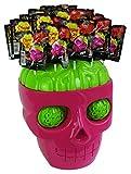 Chupa Chups Halloween Totenkopf mit Horror Lutschern, 1er Pack (1 x Totenkopf mit 45 Lutschern im Hirn)