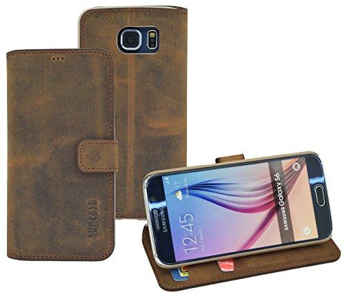 Book-Style Ledertasche Tasche für Samsung Galaxy S6 *ECHT LEDER* Handytasche Case Etui Hülle...