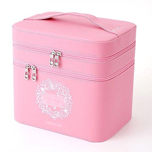 Bag custodia cosmetica custodia ad alta capacità custodia multifunzione portatile a doppio strato per trucco