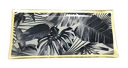 Black Leaves Tablett Jungle Schwarze tropische Blätter Porzellan 10x21cm Tapasschale Glasteller Serviertablett Servierplatte Käseplatte Fleischteller Fleischplatte Tablett
