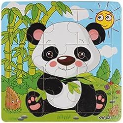Tefamore-Rompecabezas Juguetes Panda De Madera Para Los Niños Educación Y Aprendizaje Puzzles Juguetes (Multicolor)