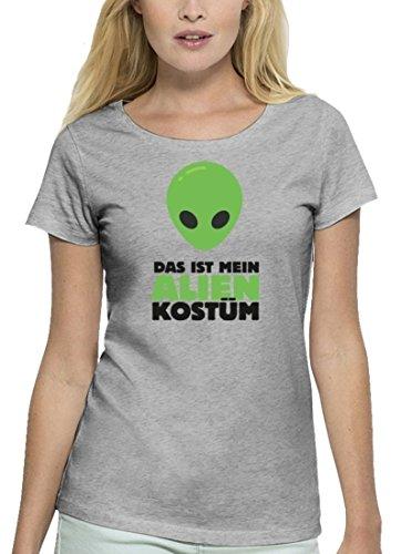 Fasching Karneval Premium Damen T-Shirt Bio Baumwolle Das ist mein Alien Kostüm 2 Stanley Stella Heather Grey