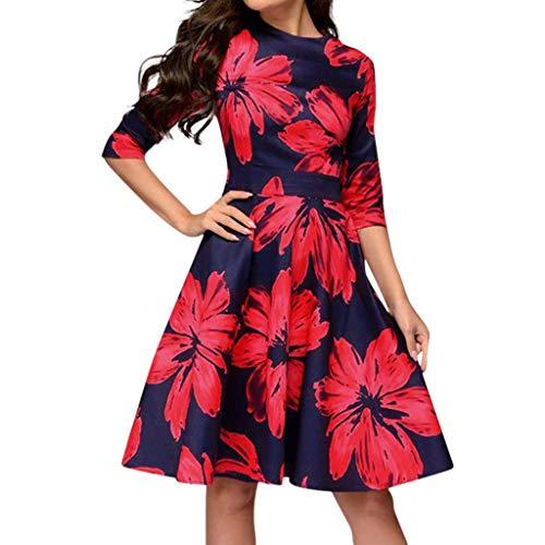 GOKOMO Rundhals Kleid Damen Decke mit ärmel und füßen blumiges maxikleid Retro Kleider 50er Jahre rot(rot-a,XX-Large) (Indische Decke Jacke)