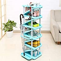 Preisvergleich für BLOIBFS 11 Tier Verstellbarer Schuhregal Lagerung Schuh Organizer Mit Umbrella Tray Platzsparend Einfach Zu Montieren Für Schlafsaal Wohnung,Blue