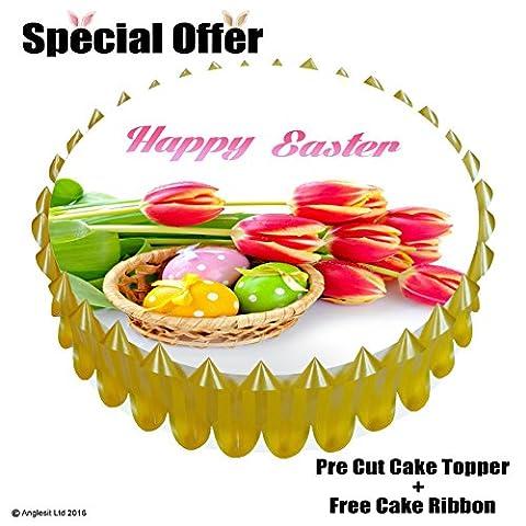 ^ Happy Easter Cake Set EA: 17,8cm/18cm Esspapier/Reispapier Kuchen Topper + Geschenk Kuchen, Band Ostern Party Dekoration gelb