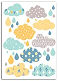 Mademoiselle Toga Wolken und Regentropfen Transfer Textil,
