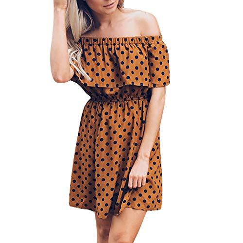 BestShope ♞♜♛ Damen Freizeitkleider, Röcke Mode Sexy Schulterfrei Plissee Rüschen Wave Dot MiniKleid gedrucktPolyester Strandkleider Unterröcke Dirndlblusen Für Frauen Mädchen