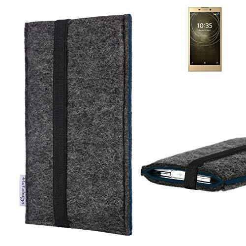 flat.design Handyhülle Lagoa für Sony Xperia L2 Dual-SIM   Farbe: anthrazit/blau   Smartphone-Tasche aus Filz   Handy Schutzhülle  Handytasche Made in Germany