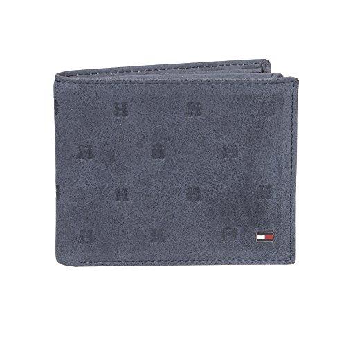 Tommy Hilfiger Herren RFID Blocking Leather Passcase Wallet with Emboss Zweifalten-Geldbörse, navy, Einheitsgröße -