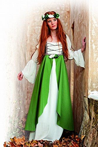 Limit Sport Mittelalter Kostüm Kleid Damen Miss Clarisa grün bodenlang mit Überkleid und Stirnband - Medium