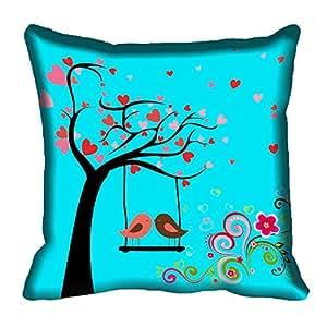 meSleep Blue Birds Digitally Printed Cushion Cover
