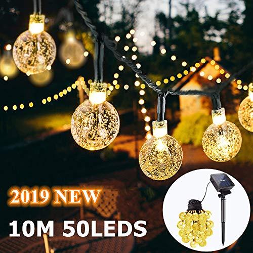 50 Led Lichterkette Solar Außen, 10 M 8 Modi Beleuchtung Solarlichterkette mit Wasserdicht Lichtsensor Kristall Kugel warmweiß Solarlampe Deko für Garten Party Hochzeiten Bäume Weihnachten Halloween
