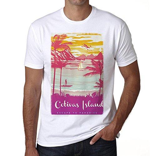cotivas-island-escapar-al-paraiso-camiseta-para-las-hombres-manga-corta-cuello-redondo-blanco