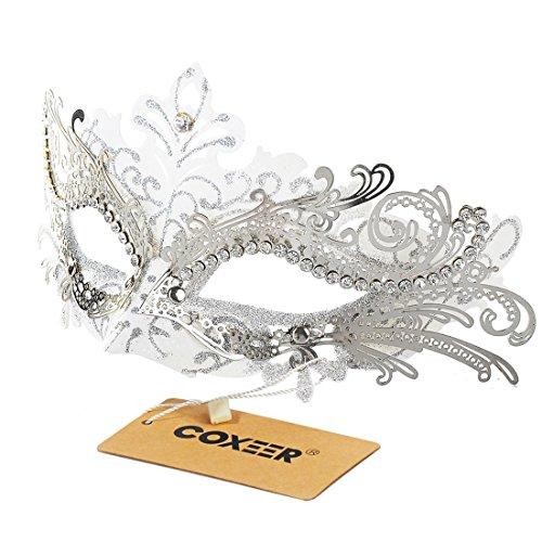 Coxeer Luxus Maskerade Halloween Maske Metall Laser-cut Strass Abschlussball Venezianische Karneval Partei Maske (White & Silver)