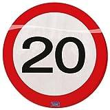 Folat 28320 Party Servietten Verkehrsschild (1 x 20 STK.)-Zahl 20